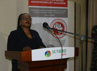 Speaker of National Assembly, Right Honourable Catherine Gotani Hara speaking during the launch